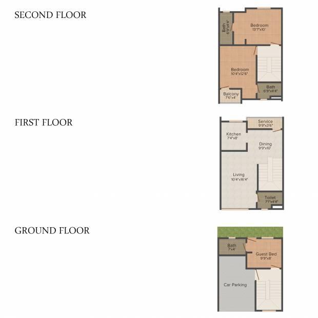 MGP Blooom Villa (3BHK+4T (1,370 sq ft) 1370 sq ft)