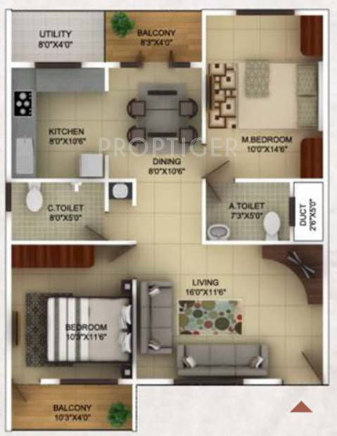 TG Epitome (2BHK+2T (1,140 sq ft) 1140 sq ft)