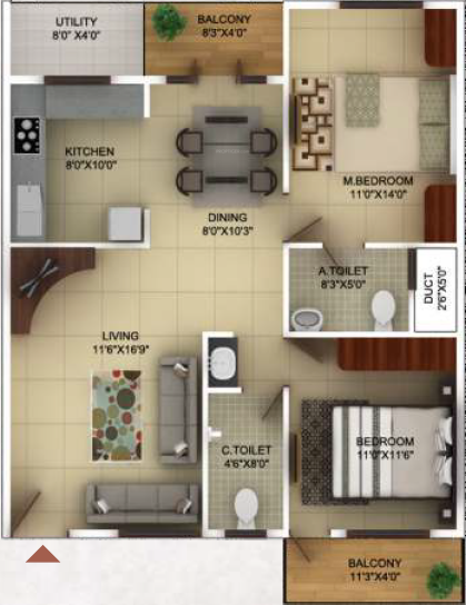 TG Epitome (2BHK+2T (1,165 sq ft) 1165 sq ft)
