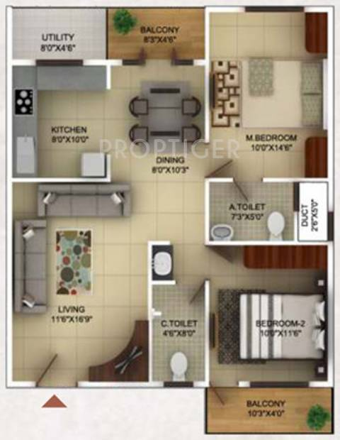 TG Epitome (2BHK+2T (1,135 sq ft) 1135 sq ft)