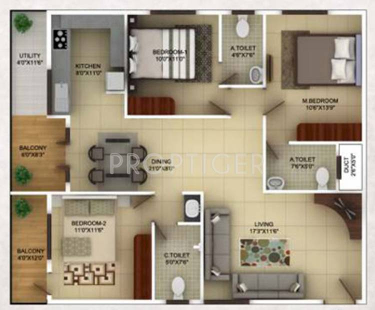 TG Epitome (3BHK+3T (1,505 sq ft) 1505 sq ft)