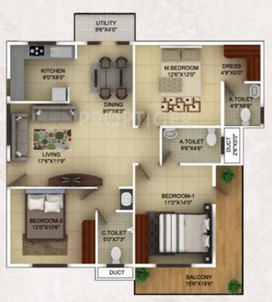 TG Epitome (3BHK+3T (1,470 sq ft) 1470 sq ft)