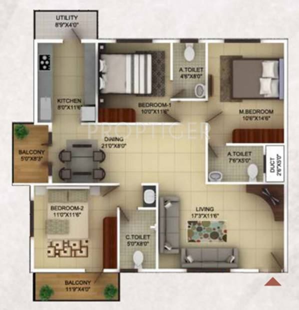 TG Epitome (3BHK+3T (1,500 sq ft) 1500 sq ft)