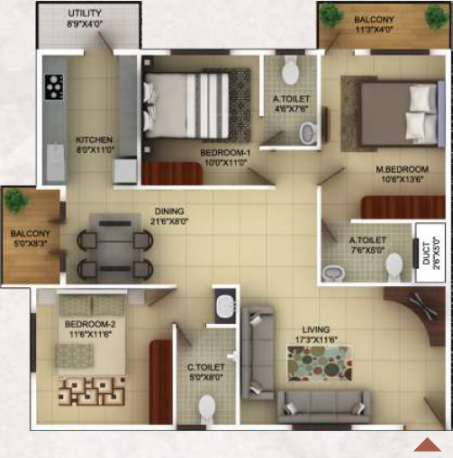 TG Epitome (3BHK+3T (1,485 sq ft) 1485 sq ft)