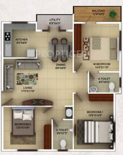 TG Epitome (3BHK+2T (1,300 sq ft) 1300 sq ft)