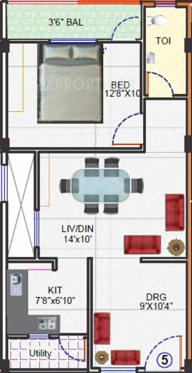 720 Sq Ft Apartment Floor Plan Of 720 Sq Ft 1 Bhk 1t Apartment For Sale In Sbr Builders