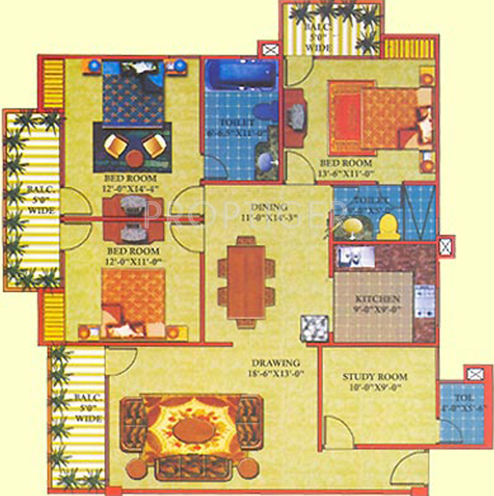 perfect structures shri ram residency floor plan 3bhk 3t 1635 sq ft 532042