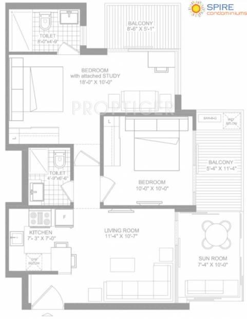 Spire Condominiums (2BHK+2T (1,125 sq ft) 1125 sq ft)