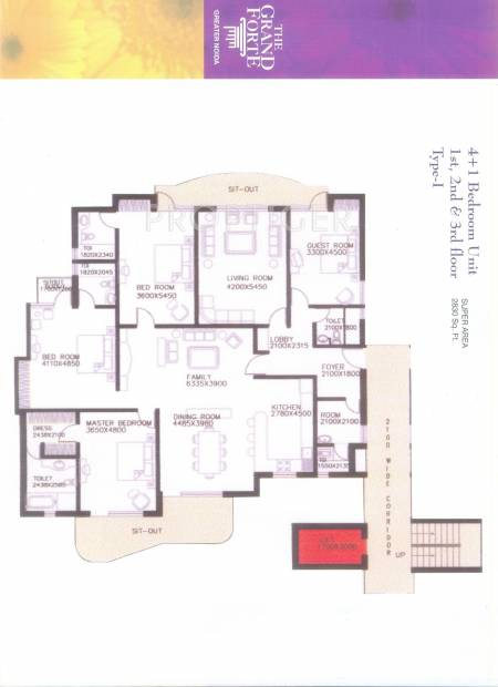Skyline The Grand Forte (4BHK+4T (2,830 sq ft) 2830 sq ft)