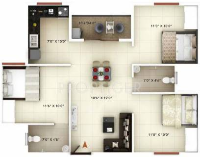 1000 Sq Ft 3 Bhk Floor Plan Image Icon Infra Shelters India Happy Living Available For Sale Rs In 34 50 Lacs Proptiger Com