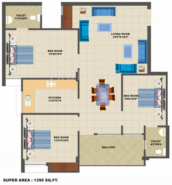 Neoteric Green Park (3BHK+2T (1,390 sq ft) 1390 sq ft)