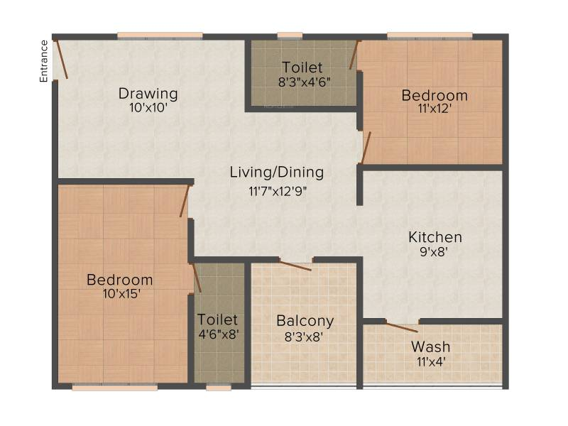 837 sq ft 2 BHK Floor Plan Image - Edifice Projects Fort View