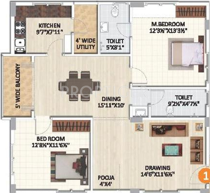 1300 sq ft 2 bhk 2t apartment for sale in siri projects for Cost to build 1300 square foot house