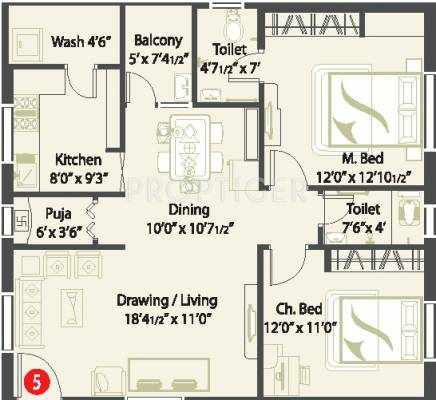 1200 sq ft 2 bhk 2t apartment for sale in cmg pristine for 1200 sq ft apartment floor plans