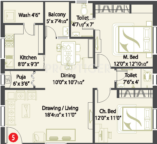 1200 sq ft 2 bhk floor plan image cmg pristine for Apartment plans 1200 sq ft