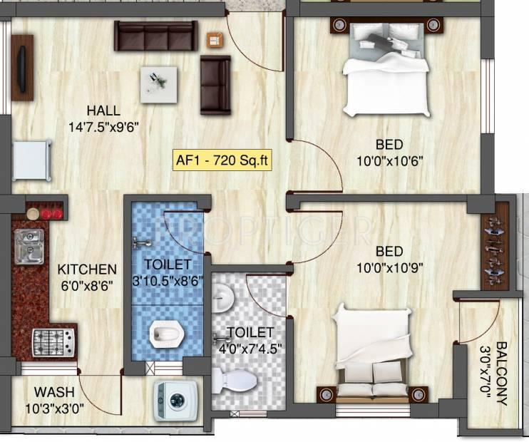 720 Sq Ft 2 BHK Floor Plan Image