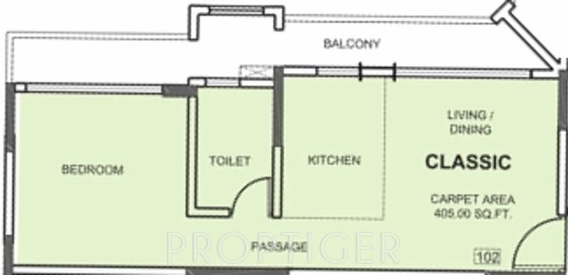 Nirvana Alive (1BHK+1T (405 sq ft) 405 sq ft)