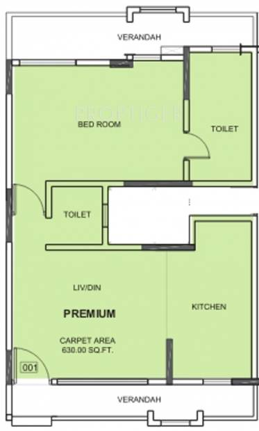 Nirvana Alive (1BHK+2T (630 sq ft) 630 sq ft)