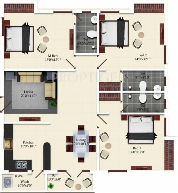 1610 sq ft 3 BHK Floor Plan Image - India Builders The Adair Aery ...