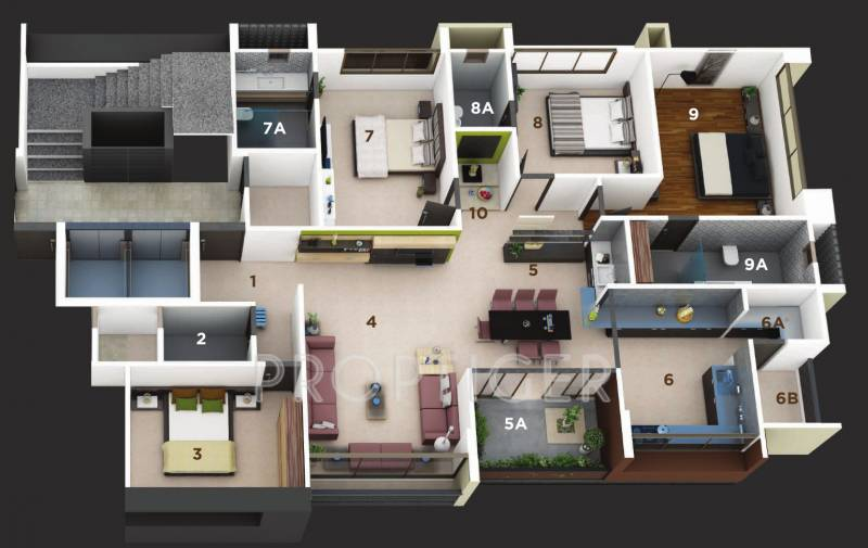 3150 sq ft 4 bhk floor plan image straft luxuria for Floor plan for 4bhk house