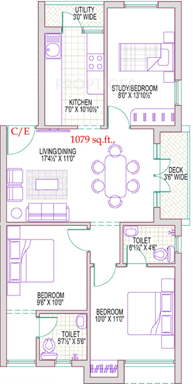 Bedroom Multipurpose Room Study Floor Plan
