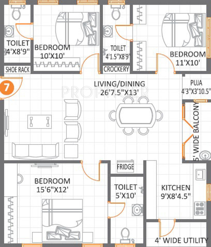 Anuhar meda heights in miyapur hyderabad price location map floor plan reviews for Cost to paint 1500 sq ft house interior