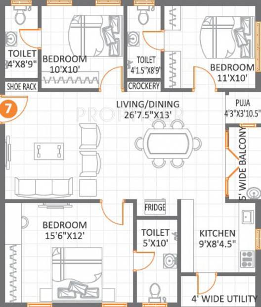 1500 sq ft 3 BHK Floor Plan Image Anuhar Meda Heights Available – Floor Plan For 1500 Sq Ft House