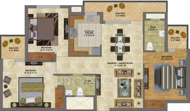 Heights (3BHK+3T (1,405 sq ft) 1405 sq ft)