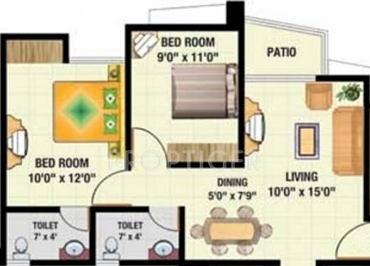 850 sq ft 2 bhk 2t apartment for sale in sadguru builders for Sq 850