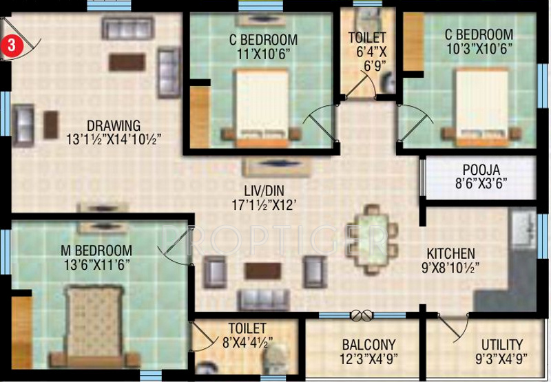 Rv wisteria in narsingi hyderabad price location map floor plan reviews for Cost to paint 1500 sq ft house interior