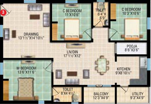 1500 sq ft 3 bhk 2t apartment for sale in rv developers for 1500 sq ft apartment floor plan