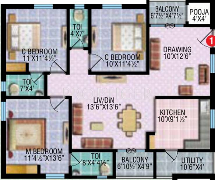 1500 sq ft 3 bhk floor plan image rv developers etania for 1500 sq ft apartment floor plan