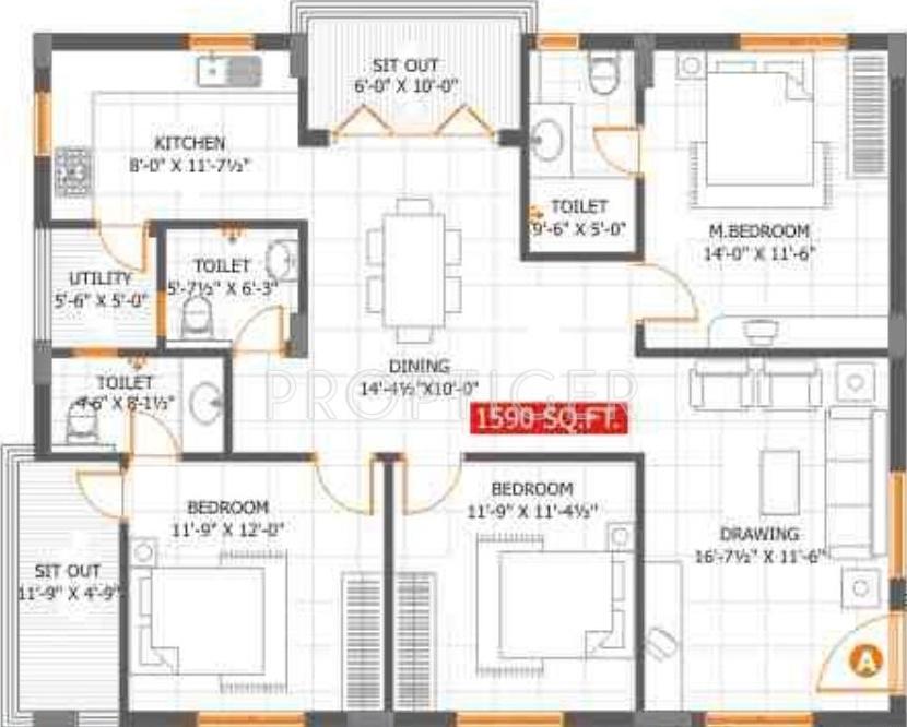 1590 sq ft 3 bhk 3t apartment for sale in sumashaila mari for Apartment plans hyderabad