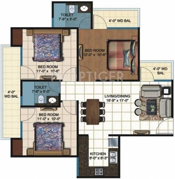MGI Sanskar Residency (3BHK+2T (1,200 sq ft) 1200 sq ft)
