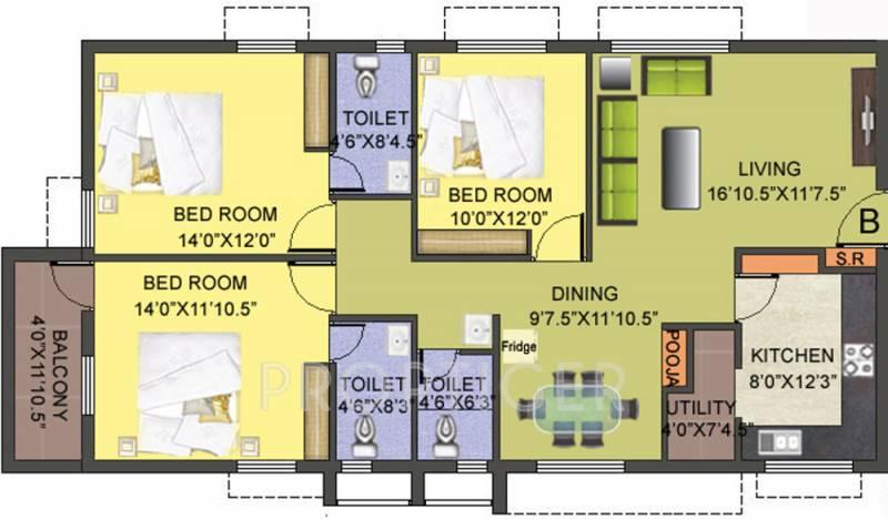 Smart Gloriosa Tower (3BHK+3T (1,471 sq ft) + Pooja Room 1471 sq ft)