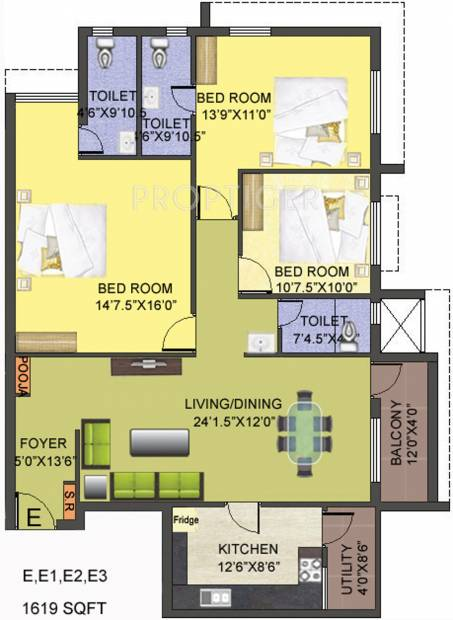 Smart Gloriosa Tower (3BHK+3T (1,619 sq ft) + Pooja Room 1619 sq ft)