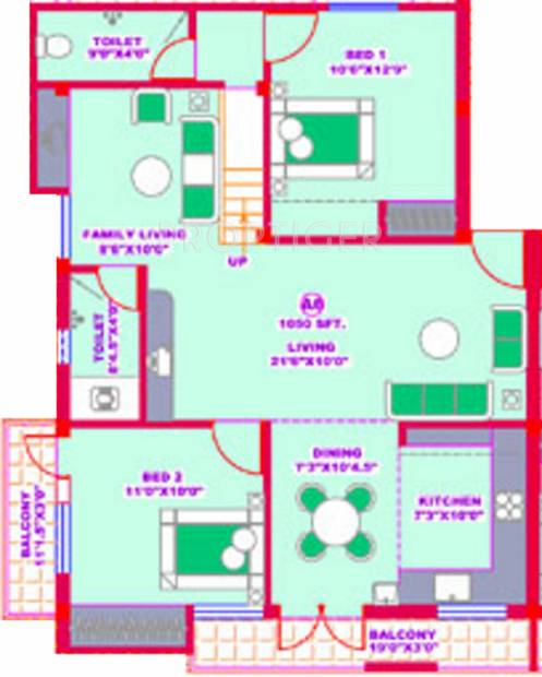 1050 sq ft 2 bhk floor plan image brownstone south 1 for 1050 sq ft floor plans