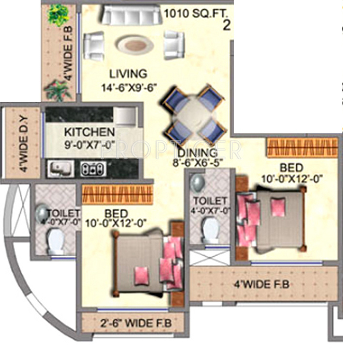 1010 Sq Ft 2 Bhk 2t Apartment For Sale In Romell Group