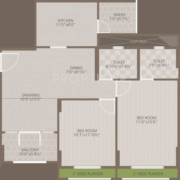 Goyal Orchid Woods (2BHK+2T (1,182 sq ft) 1182 sq ft)