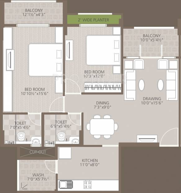 Goyal Orchid Woods (2BHK+2T (1,194 sq ft) 1194 sq ft)