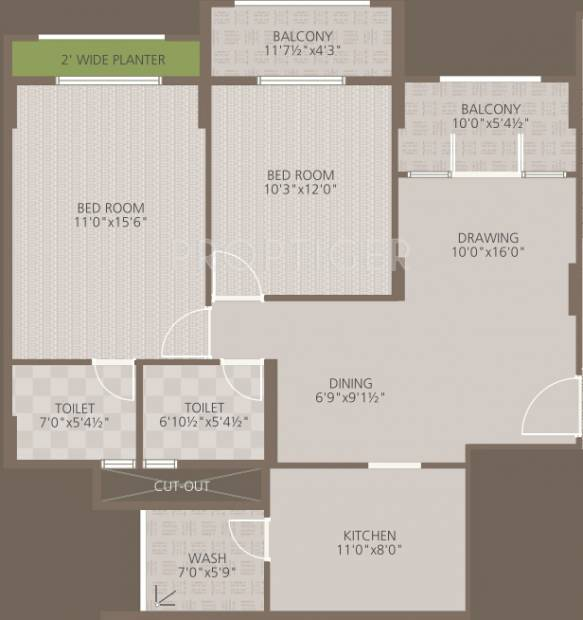 Goyal Orchid Woods (2BHK+2T (1,197 sq ft) 1197 sq ft)