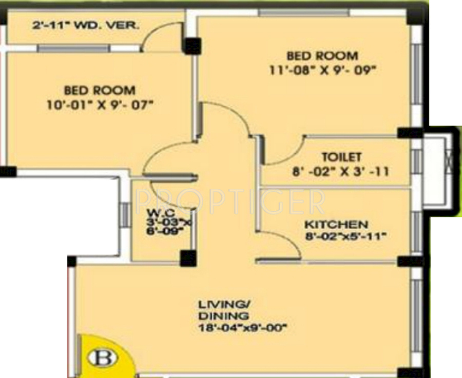 817 Sq Ft 2 Bhk 1t Apartment For Sale In Esteem Property