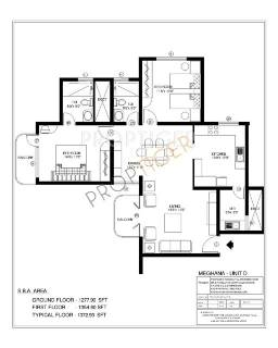 1372 Sq Ft 2 Bhk Floor Plan Image Acs Developers Acs Meghana And Shalini Towers Available For Sale Proptiger Com