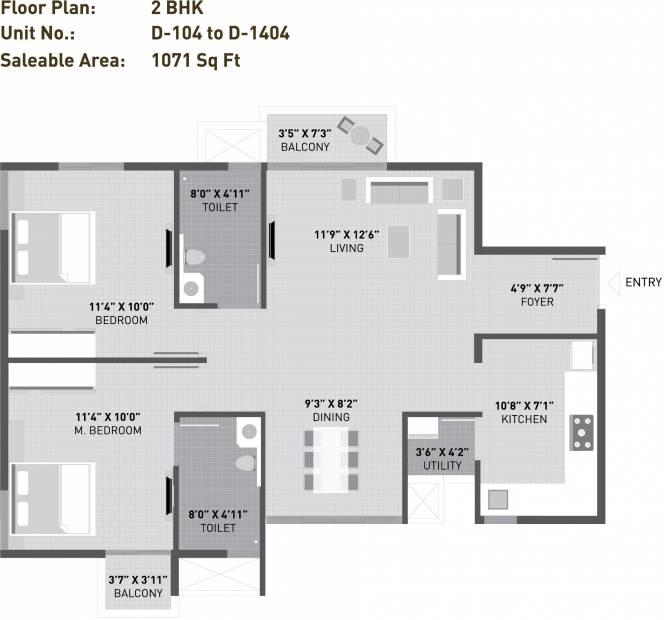 Arvind Sporcia (2BHK+2T (1,071 sq ft) 1071 sq ft)