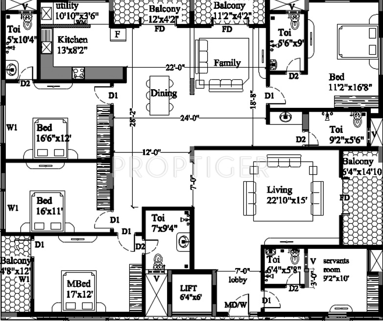 3380 sq ft 4 bhk 4t apartment for sale in astro rosewood for Rosewood house plan