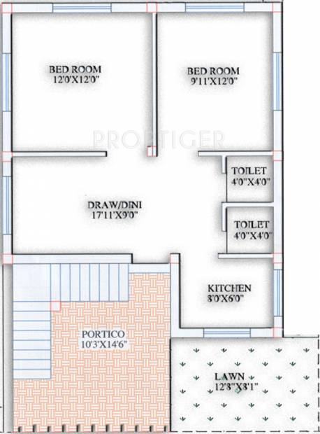 600 sq ft 2 bhk floor plan image purusottam villa for 2bh house plans