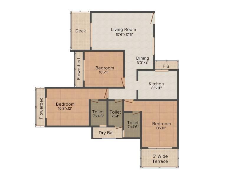 Swaraj Queensbay (3BHK+3T (1,800 sq ft) 1800 sq ft)