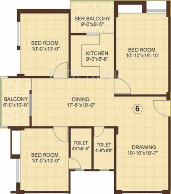 Vasundhara Homes Le Grassia Floor Plan (3BHK+2T (1,625 sq ft) 1625 sq ft)
