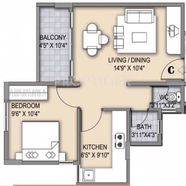 650 sq ft 1 bhk floor plan image olympia group grande for 1 bhk flat floor plan