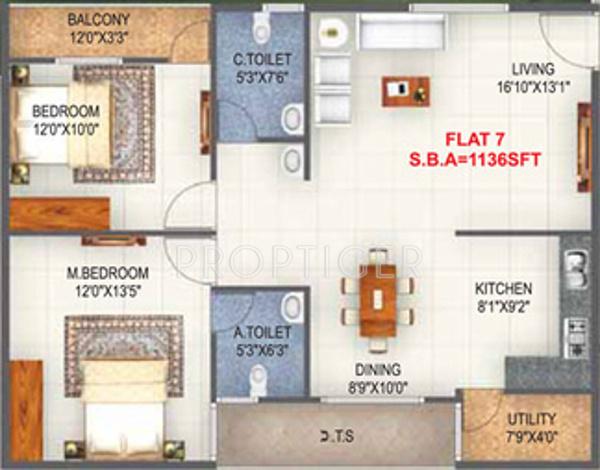 SV Nest (2BHK+2T (1,136 sq ft) 1136 sq ft)